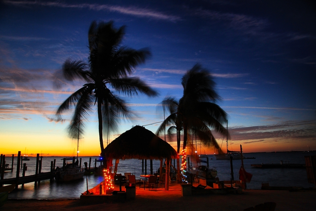 Beautiful Night Time in Key Lime Sailing Club and Cottages by Paul Lopez