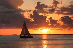Catalina 22 Sailing by the Sunset on Buttonwood Sound in Key Largo Florida